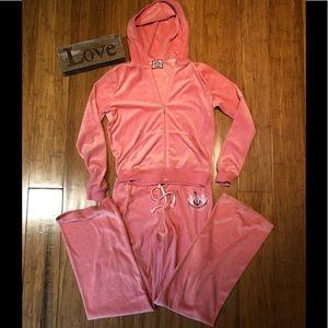 Juicy Couture velour pink pant suit